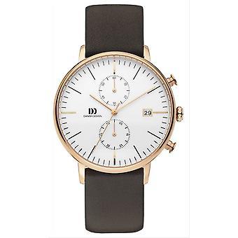 Deens design Tidlos Koltur Chrono Watch-bruin/Rose goud