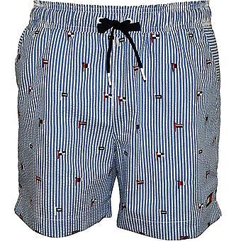 Tommy Hilfiger Flag Embroidery Stripes Seersucker Swim Shorts, Blue
