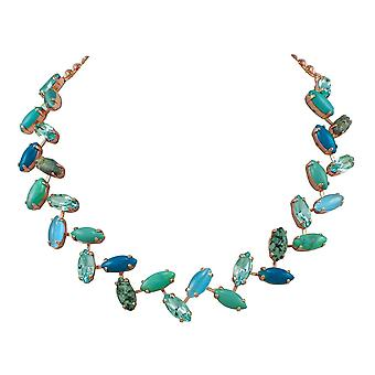Eternal Collection Decadence Turquoise Howlite And Crystal Rose Gold Tone Necklace