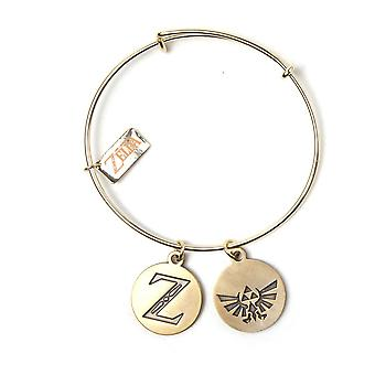 The Legend of Zelda Wristband Bracelet With Z & Triforce Charms Gold WB411003ZEL