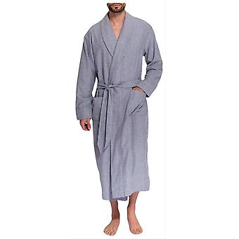 British Boxers Ash Herringbone Two Fold Flannel Robe - Grey
