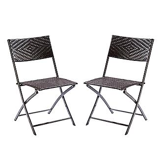 Bistro Folding Garden Home Dining Chair Seat - Indoor / Outdoor Furniture (x2)