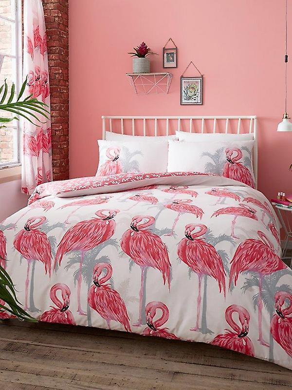 Flamingos and Palm Trees Duvet Cover Set
