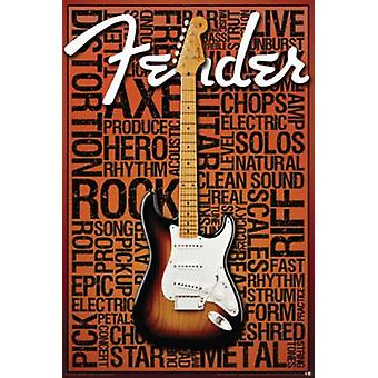 Poster - Fender - Words Guitar Wall Art Licensed Gifts Toys 241279