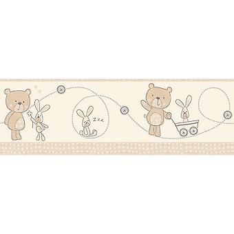 Fun4Walls Bear Boo Self Adhesive Wallpaper Border Rabbit Hearts Cream Beige