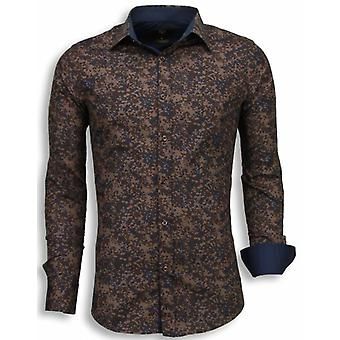 E Shirts - Slim Fit - Camouflage - Brown
