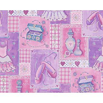 A.S. criação como criação padrão de verificação bailarina princesa rosa metálico Childrens wallpaper 305971
