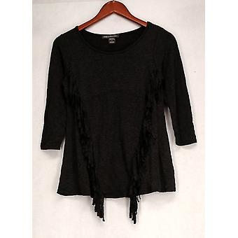 Kate & Mallory Top 3/4 Sleeve Front Fringe Detail Gray Womens A427006
