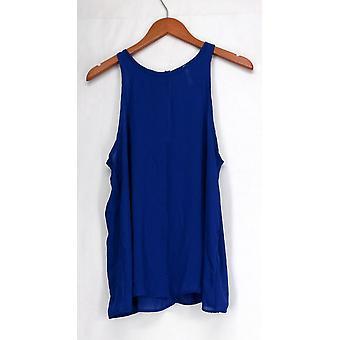 Lyss Loo Sleeveless Boat Neckline Shear Top Blue Womens