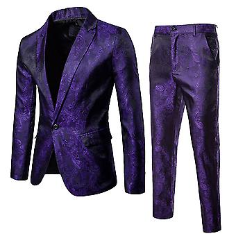 Allthemen Mens 2 Pieces Slim Fit Embroider Printed Floral Suit Blazer&Pants
