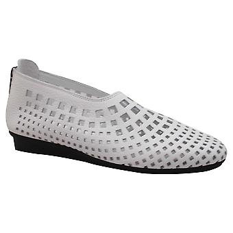 Arche White Lazer Cut Out Soft Leather Slip On Shoes