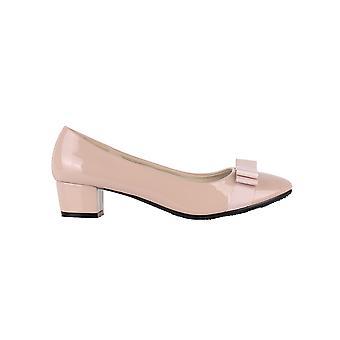 KRISP Womens Low Block Heel Bow Patent Courts Damen Work Party Ballerina Pumps Schuhe