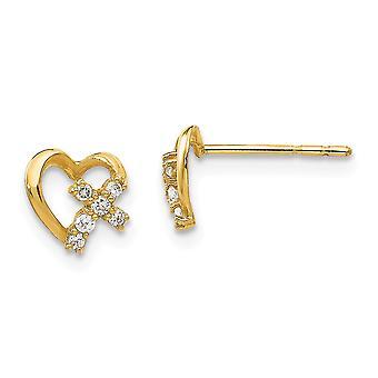 14k keltainen kulta kiillotettu CZ Cubic Zirkonia Simuloitu Diamond Love Heart Post korvakorut korut lahjat naisille