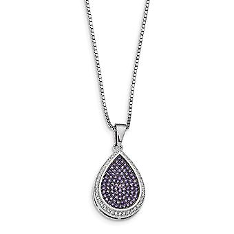 925 Sterling Silver Pave Spring Ring Rhodium plated and CZ Cubic Zirconia Simulated Diamond Brilliant Embers Necklace 18