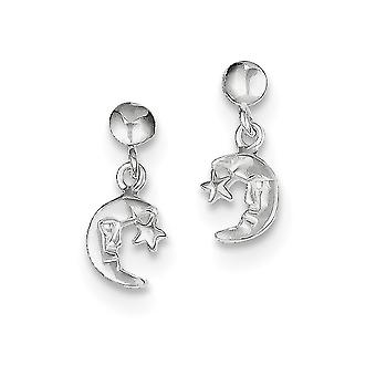 925 Sterling Silver Polished Dangle Moon and Star Post Earrings - .9 Grams