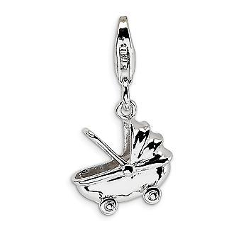 925 Sterling Silver leštené Rhodium pokovované Fancy Lobster uzavretie Baby prepravu s homár sponou kúzlo prívesok náhrdelník
