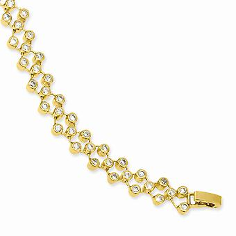 Goud-flitste vak vangst sluiting drie rij Cubic Zirconia cirkel armband - 8,25 Inch