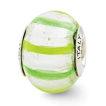 925 סטרלינג כסף מלוטש השתקפויות בהיר ירוק כהה איטלקי מוראנו זכוכית חרוזים תליון תליון שרשרת מתנות