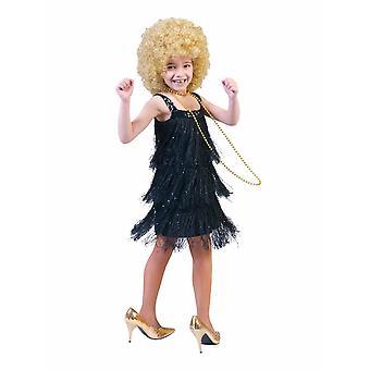 Fannie Fringe Girl Charleston Kostüm Kleid schwarz Kinderkostüm Mädchen 20er Jahre Sylvester Karneval Fasching