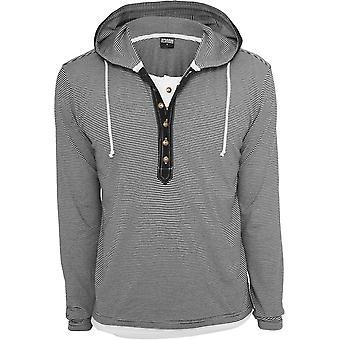 Urban Classics Men's Hoodie Fine Stripe Button Jersey