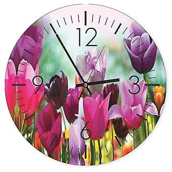 Dekorativt ur med billede, farverige tulipaner