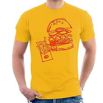 Zits Red Hamburger og Fries Doodle mænd ' s T-shirt