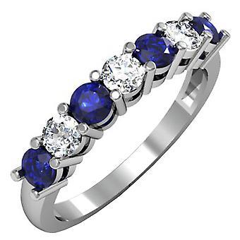 Dazzlingrock collectie 18K ronde blauwe saffier en witte diamant 7 stenen Bridal Wedding Band, wit goud