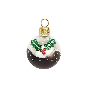 4cm Mini Glass Christmas Pudding Bauble Tree Decoration