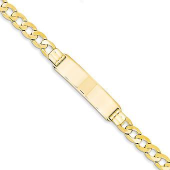 14k geel gouden Solid Engravable gepolijst Lobster Claw sluiting Curb ID Armband - 8 Inch - 8mm - kreeft-klauw