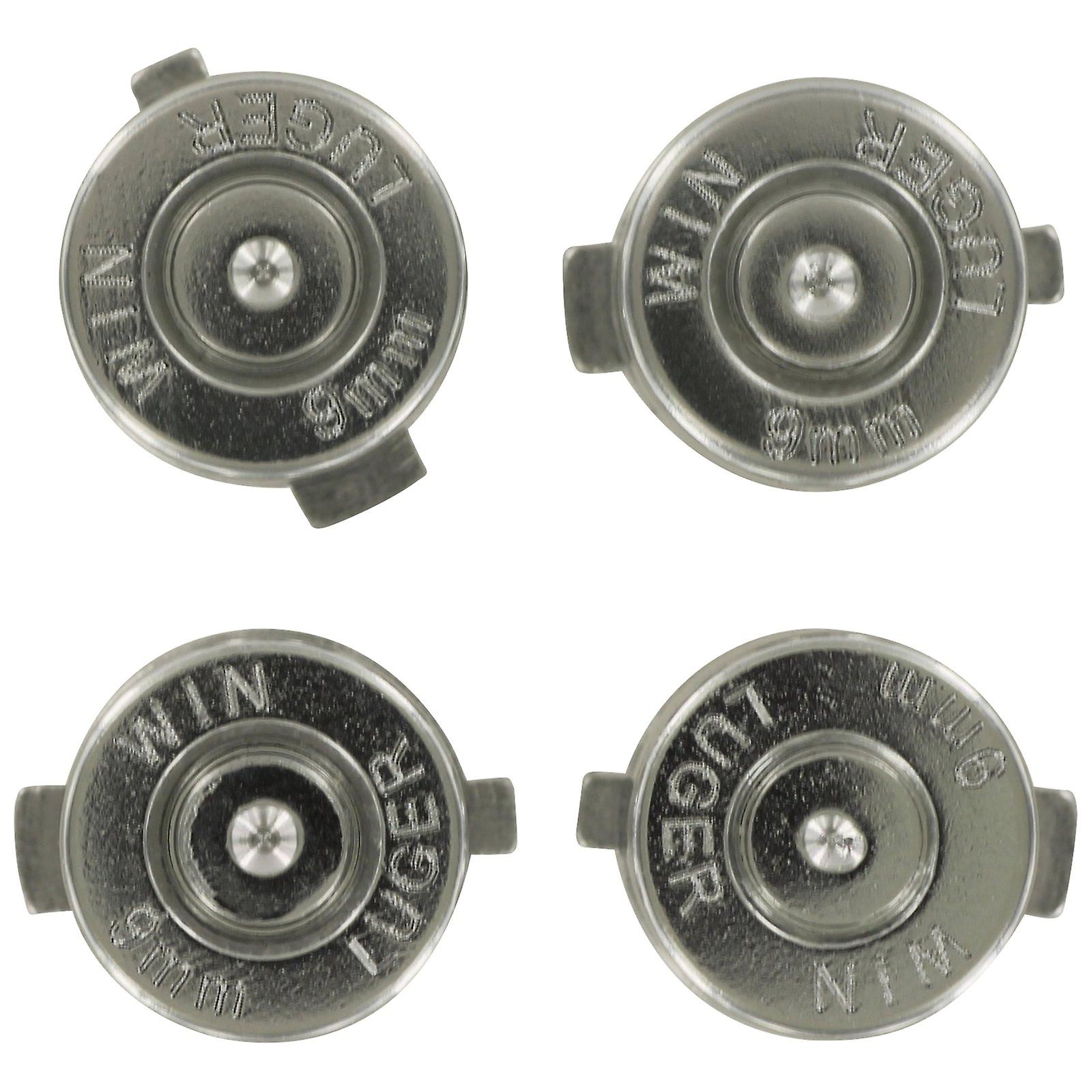 Aluminium metal action bullet button set for sony ps4 controllers - silver
