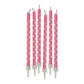 6 Pencil Polka Dots 10cm Candles - Pink
