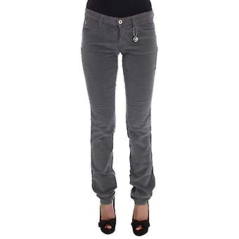 Gray Cotton Super Slim Corduroys Jeans -- SIG3830917