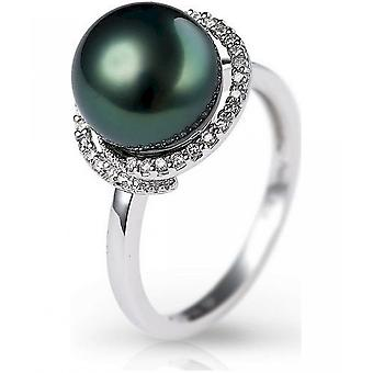 Luna-Pearls Diamond Ring with TahitiPerle R59