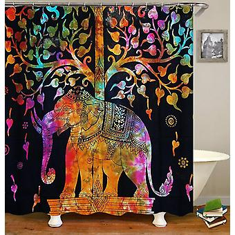 Colorful Indian Elephant Statue Shower Curtain