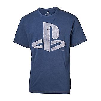 Sony Playstation Logo Faux Denim T-Shirt männlich klein blau (TS551122SNY-S)