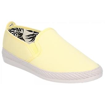 Flossy Orla Espadrille Ladies Canvas Slip On Plimsolls Jaune