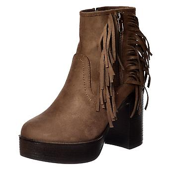 Onlineshoe Tassel And Fringe Suede High Block Heel Ankle Boot