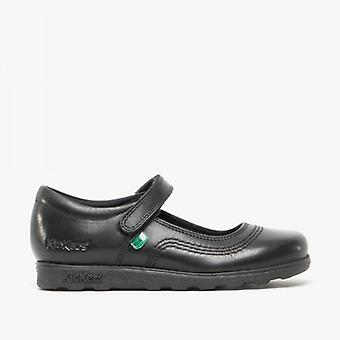 Kickers Fragma Pop Junior Girls Leather Shoes Black