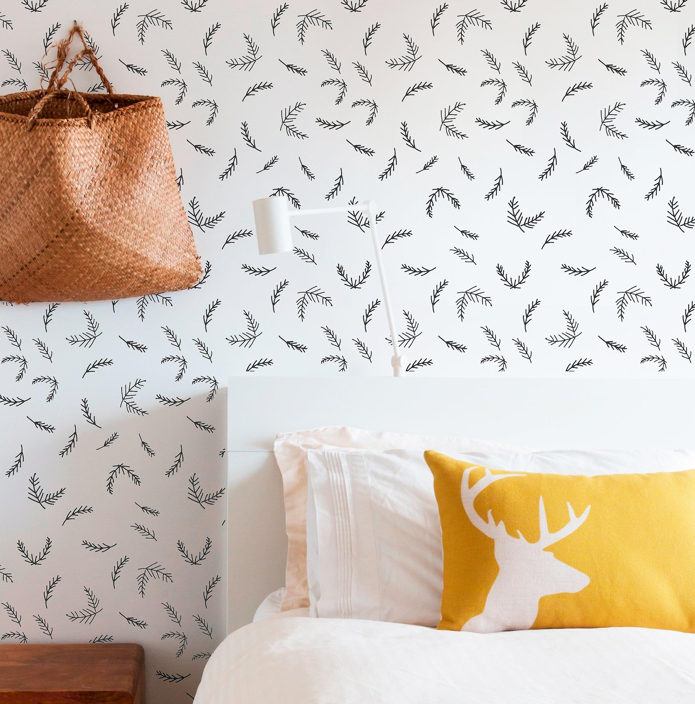 Pine sprig repeat wall stencil