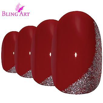 Falske negler av bling kunst rød glitter ovale middels falske akryl spiker tips med lim