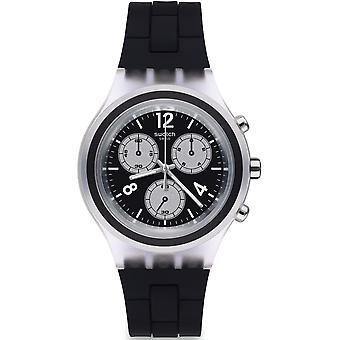 Swatch Svck1004 Eleblack sølv & sort silikone Chronograph Watch