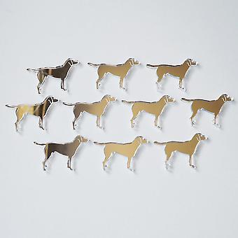 Standing Working Labrador Dog Mini Craft Sized Acrylic Mirrors (10Pk)