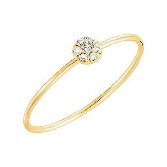 14k Yellow Gold .04 Dwt Diamond Petite Circle Ring Size 6.5 Jewelry Gifts for Women