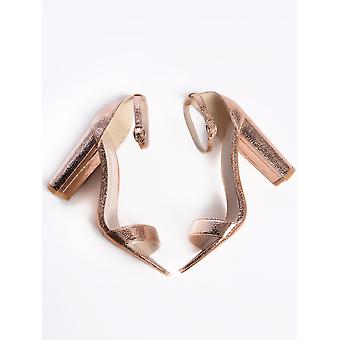 Rose gold metallic barely there block heels