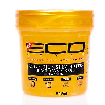 Eco Styler Professional Styling Gel Olive oil, Shea Butter, Black Castor Oil & Flaxseed 32oz