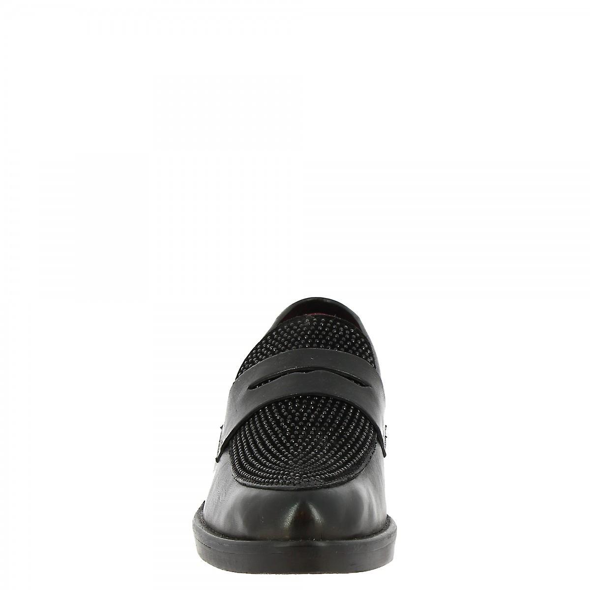 Leonardo Shoes Women's handmade elegant slip on loafers shoes black calf leather qjDAZ