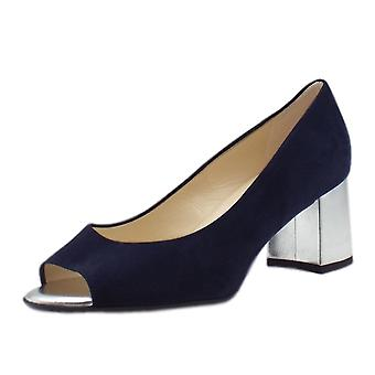 Peter Kaiser Frona Open Toe Wide Fit Shoes In Notte Suede
