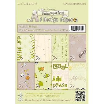 LeCrea A5 Background Papers – Sport Beige/Green (16 Sheets)