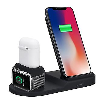 3 i 1 10w qi trådløs oplader ur oplader øretelefoner oplader telefon holder til Qi-aktiveret smart telefon til iphone 11 pro max apple watch apple airpods