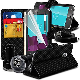 i-Tronixs Vodafone Smart Ultra 7 Carbon Fiber Classic Wallet Flip Case + Double Bullet Car Chager -Black Carbon
